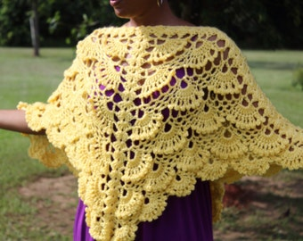 Yellow Triangle Textured Crochet Poncho - Hand crafted - Women's - Shawl - Cover- up
