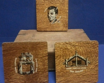 Three Vintage Wooden New Zealand Coasters / Retro Painted Wooden Coasters / Vintage New Zealand Souvenirs