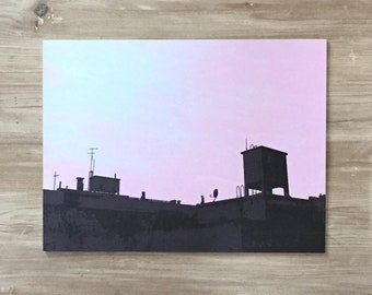 PINK ROOFTOP - 300x225mm limited edition hand pulled screen print on plywood - Silhouette art print / wall art