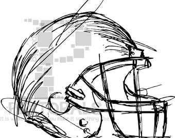Football Helmet! Sketchy, EPS file, Vector and jpeg, png, sketchy, Screen Printing