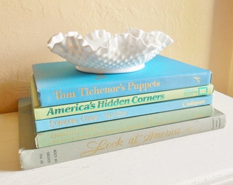 Set of Vintage Books in Turquoise Teal Blue Aqua Mint Green Home Decor