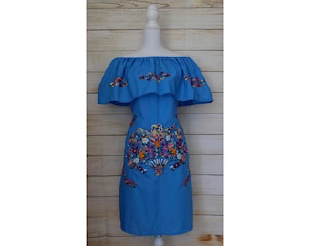 Women's Mexican Dress - Floral Embroidery - Embroidered Mexican Dress - Blue Mexican Dress - Mexican Wedding - Mexican Bridesmaid