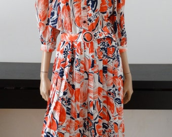 Vintage white red/blue floral print dress size 42 - uk 14 - us 10