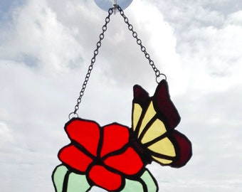 Stained Glass Butterfly On The Flower suncatcher, garden decor, gift for her, window decor, mother's day gift