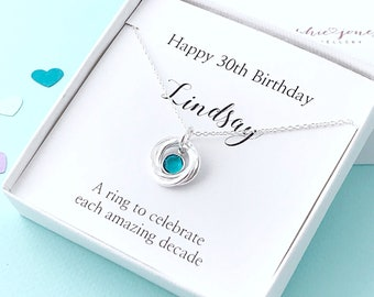 Personalised 30th birthday silver birthstone necklace - 30th birthday gift - 30th gift - 30th birthday for daughter - 30th for friend