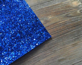 Glitter Material Chunky Sparkle Bright Navy 8X10 sheet