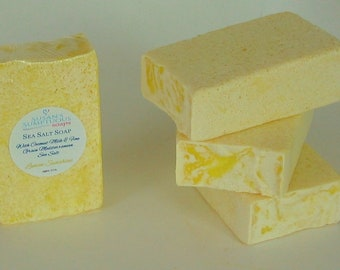 Sea Salt Soap with Coconut Milk and Mediterranean Sea Salt - Lemon Sunshine