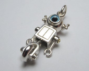 Steampunk robot necklace WHEELYBOT sterling silver free shipping
