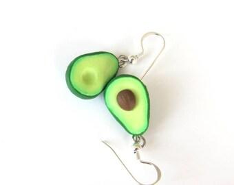 Miniature Food Jewelry, Avocado Earrings, Avocado Jewelry, Friendship Jewelry, BFF Gifts, Green Earrings, Polymer Clay Avocado Food Earrings