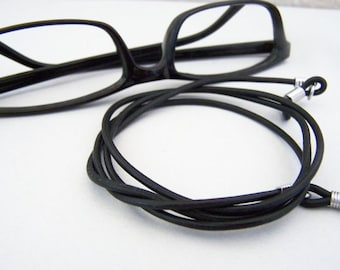 Unisex Eyeglasses Cord 2mm Black, Brown, Antique Tan Leather 24-36 inches Eyeglass Necklace Holder