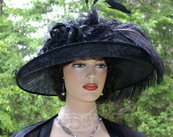 Kentucky Derby Hat Ascot Edwardian Hat Downton Abbey Tea Hat Ascot Hat Edwardian Hat Women's Black Hat Wide Brim Hat - Countess of Grantham