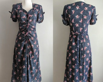 vintage 90's does 40's chiffon floral and polka dot ruched front midi dress in black size small