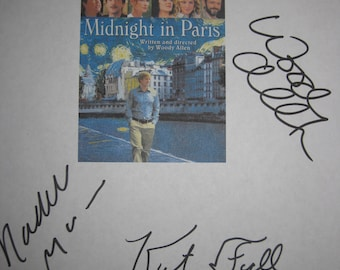 Midnight in Paris Signed Film Movie Script Screenplay X7 Autograph Woody Allen Owen Wilson Rachel McAdams Tom Hiddleston Kathy Bates Sheen