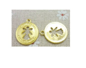 """SET of 5 charms Golden Angel in """"you are my special angel"""" Circle Pendant (S40)"""