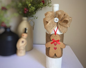 Gingerbread Decor/Gingerbread Man/Winter Wonderland/Christmas Decor/White Christmas/Country Christmas Decor/Wine Bottle/Recycled Bottle