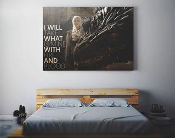 Daenerys Targaryen Khaleesi art house mother of dragons gifts print poster Game of Thrones stormborn with and birthday got wall canvas decor