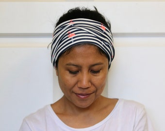 Wide Headbands For Women, Jersey Cotton Headband, Stretchy Headband, Stripe Headband, Hippie Headwrap, Adult Headband, Bandana Wide Turban