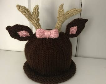 Newborn Deer Hat with a Bow