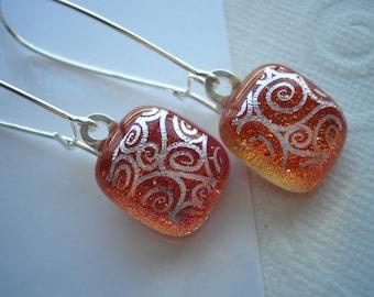 Copper with Silver Swirls Earrings, Kidney Earwires, .925 Sterling, Handmade Dichroic Cabochons, Fused Glass Jewelry, Long Dangle Earrings