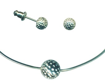 Sterling silver golf ball necklace and earrings set
