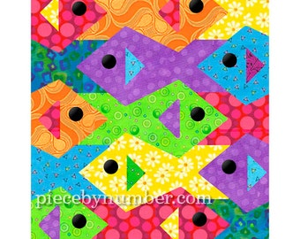 RESERVED:  Tessellating Fish quilt pattern, paper pieced quilt patterns instant download PDF, tessellation quilt pattern