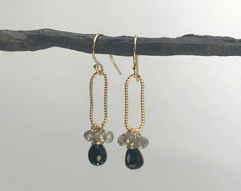 Black Spinel Earrings Black Earrings Dainty Earrings Long Earrings Delicate Earrings Statement Earrings Drop Earrings Black Gemstone