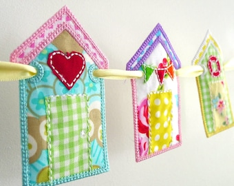 """Beach Hut Banner In The Hoop Project Machine Embroidery Designs Applique Patterns ITH in 5 variations in 7 sizes 4"""", 5"""", 6"""", 7"""", 8"""", 9"""", 10"""""""