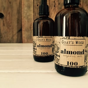 Organic Sweet Almond Oil, Cold Pressed. For Dry Sensitive Skin. Organic Skincare