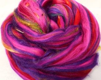 So Sari Blend -Hibiscus-  Merino/ Sari Silk / Silk (50/25/25 )  (2 oz. )