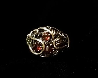 End of May Sale Sterling filligree ring with  gorgeous rich red natural garnets, JANUARY BIRTHSTONE. Wraped on a sturdy forged band. Size 7