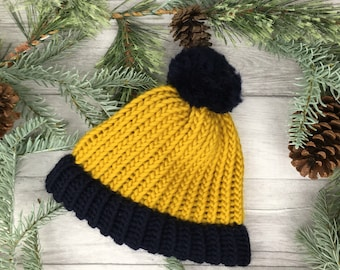 Mustard and blue knitted hat, knit accessories, toque, mens beanie hat, woman hat husband girlfriend gift chunky knit fathers day mother day