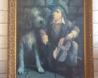 1960's Big Eyed Dog and Boy like Dallas Simpson Large Picture- Modernist Painting- Vintage Kitsch Gold Frame- Midcentury