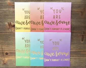Card Set of 12 - Greeting Card -You Are Awesome - Friendship Card - Just Because Card -Encouragement Card- Ombre - Modern - Calligraphy Card