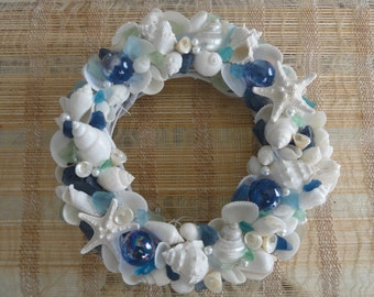 Coastal decor, beach decor, coastal wreath, shell wreath, seashell wreath, coastal home accents, coastal cottage, white shell wreath