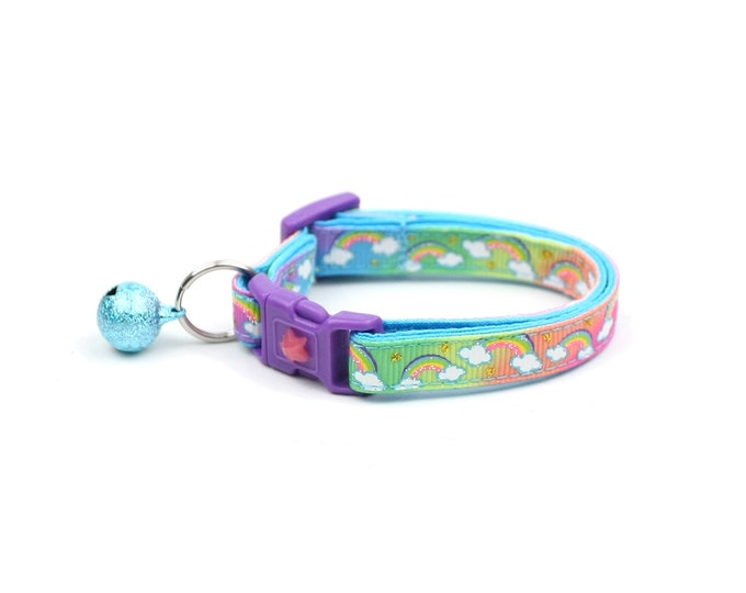 Rainbow Cat Collar - Rainbows over Rainbow -Small Cat / Kitten Size or  Large Size Collar