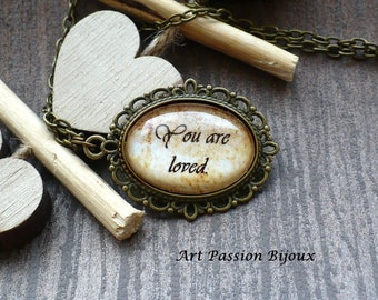 Love necklace, mother pendant, you are loved, quote necklace, encouragement gift for friend, family pendant, wife gift, 25% off shipping