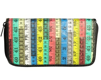 Large wallet made from colorful tape measure, FREE SHIPPING, vintage zip vegan Credit Card Wallet, large zipper wallet purse knitter sewer