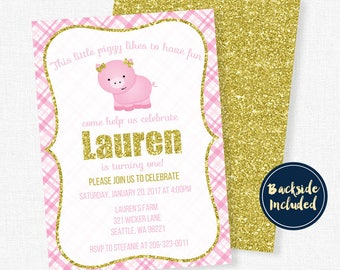 Pig Birthday Invitation, Pink and Gold Invitation, Girl Birthday Invitation, Farm Party Invitation, Pink Pig Party
