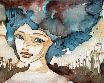 Small Original Watercolor Painting. 15x20 cm, woman, girl,  illustration, portrait, blue , abstract, painting, art,