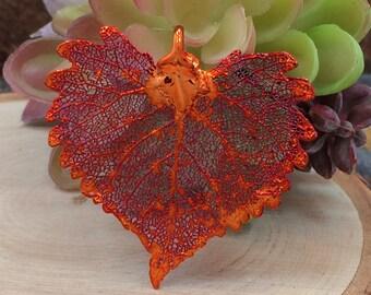 Cottonwood Leaf Pendant, Copper Dipped Cottonwood Leaf Pendant, Copper Cottonwood Leaf, Leaf Pendant, Nature Pendant, PC1204