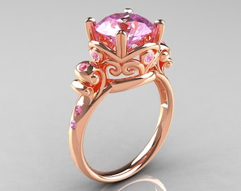 Modern Vintage 10K Rose Gold 2.5 Ct Light Pink Sapphire Wedding Ring, Engagement Ring R167-10KRGLPS