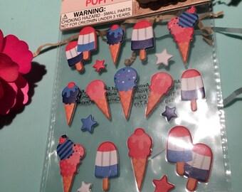 Ice cream puffy stickers
