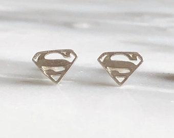 Sterling Silver Supergirl Stud Earrings, Superman Earrings, Comic Book Hero Jewelry, Comic Book Earrings, Superhero Jewelry, Superhero Studs