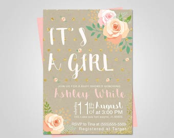 Baby shower invitation girl/Baby shower girl/baby shower invitation girl floral/Baby Shower invitation/Pink and gold/Baby shower invitation
