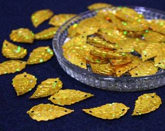 15x25 mm • Gold Glitter Leaf Sequins