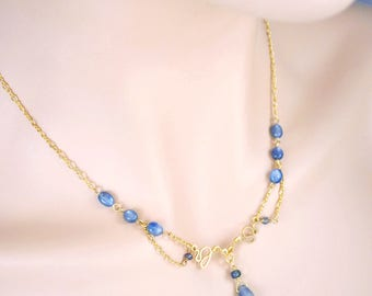 Sapphire & Tourmaline Festoon Necklace in 14K Gold Filled; Handcrafted Natural Gemstone Jewelry; September October Birthstone; One of a Kind