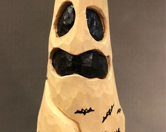 HAND CARVED Ghost with a Jack o Lantern stack from 100 year old Cottonwood Bark
