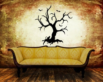 Halloween Tree Decal | Vinyl Wall Decal | Halloween Decor | Spooky Decor | Cat and Bats | Creepy Tree | 22458