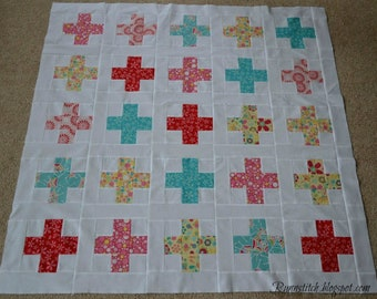 Baby Quilt Top, Unique Baby Girl Gift, Quilt Project, DIY Baby Shower Gift, Quilt Your Own, Lap Quilt Size, 48 by 56 Inches, Patchwork Quilt