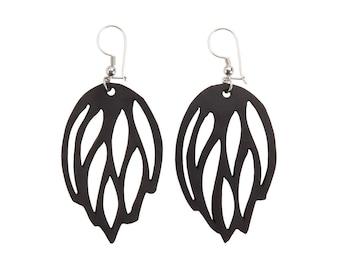 Black Elegant Upcycled Vegan Earrings - Lightweight & Unique Dangling Earrings - Eco Friendly Earrings